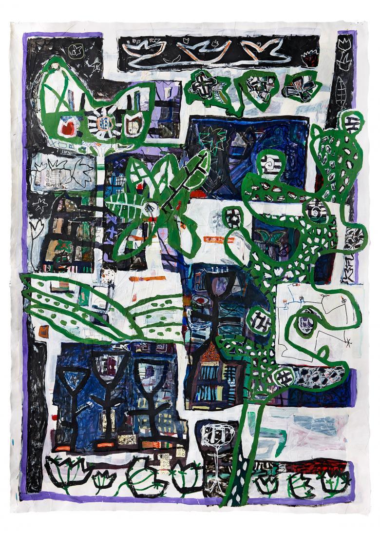 Akryl, tusch og collage på papir 150x100